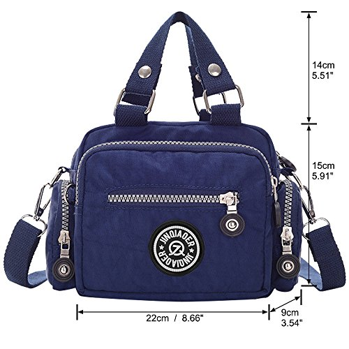 Small Multi Pocket Messenger Women Handbag Shoulder Bag Zipper Ladies Wiwsi deep Tote blue Bag UtX0zqWw