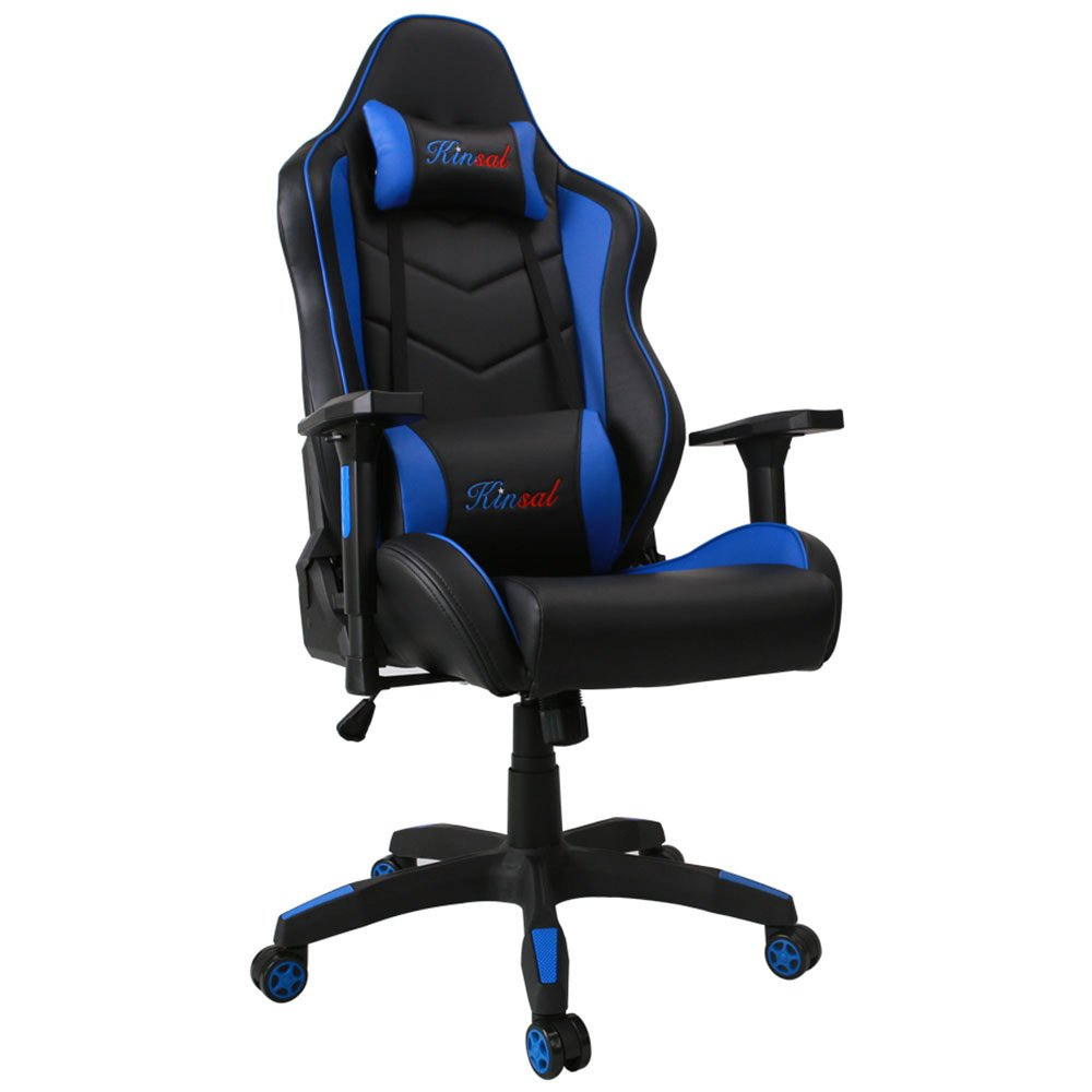 Kinsal Large Size Racing Chair, PC Gaming Chair High-back Computer Office Chair, Ergonomic Chair, Swivel Executive Chair Including Headrest and Lumbar Support (Blue)
