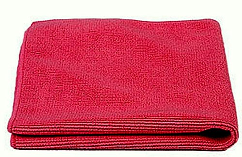 JaniFiber Microfiber Cleaning Cloths Towel Set, Highly Absorbent, Lint, Scratch and Streak Free, Soft and Washable, 16 by 16, Red, 24 Pack