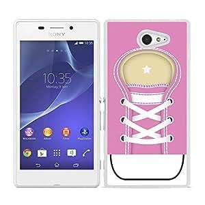 Funda carcasa para Sony Xperia M2 diseño zapatilla cordones color rosa borde blanco