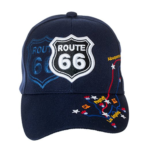 Artisan Owl US Route 66 Trucker Hat-100% Cotton Embroidered Rt 66 Cap (Navy