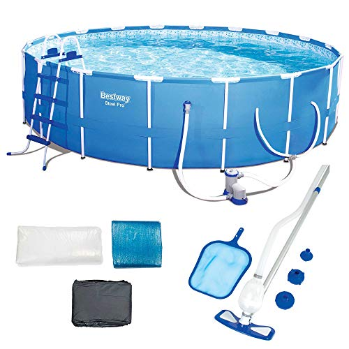 Bestway 18ft x 48in Steel Pro Round Frame Above Ground Pool Set with Accessories -  56463EBW58234EB