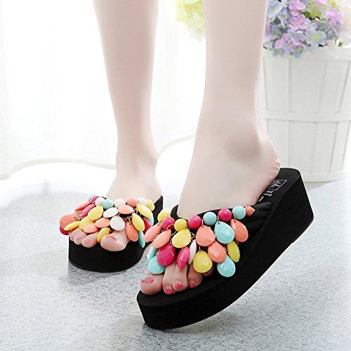 antideslizante Sandalias Zapatillas chanclas moda colour calzado inferior zapatillas y grueso playa Señoras de mujer 4Rwvxra4X