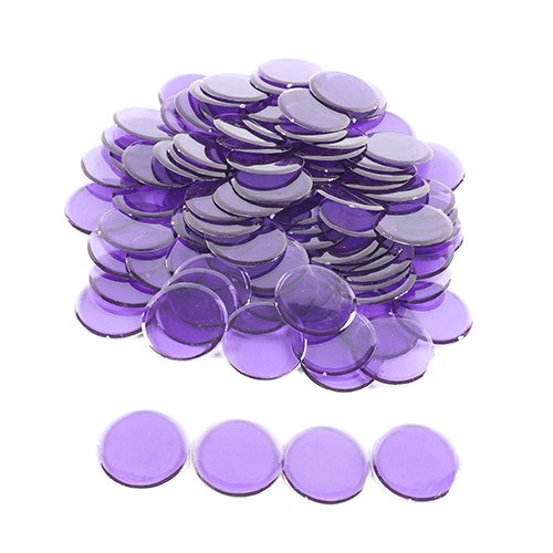 Plastic Non-Magnetic Bingo Chips - Purple - 100 Bingo Chips - 7/8 Inch Size
