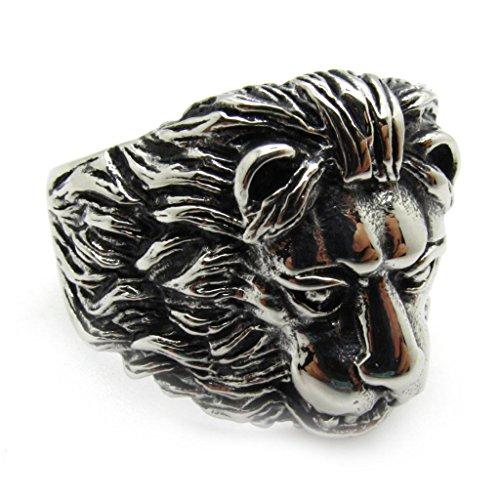 BoxDragon Jewelry Men's Stianless Steel Ring Band Biker Silver Black Lion Gothic