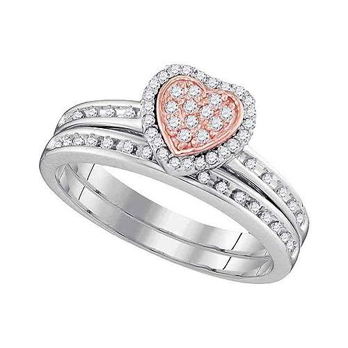 Amazon Com 10kt White Gold Womens Round Diamond Rose Tone Heart