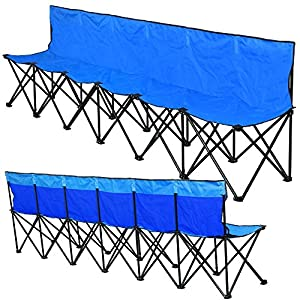 Yaheetech Lightweight Folding Team Sport Bench 6 Seater Blue Sideline Seats by Yaheetech
