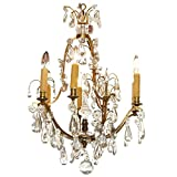 "QZ524: Maison Jansen Traditional Style Clear Crystal & Bronze Chandelier (25""-56"" H) $2,457+"