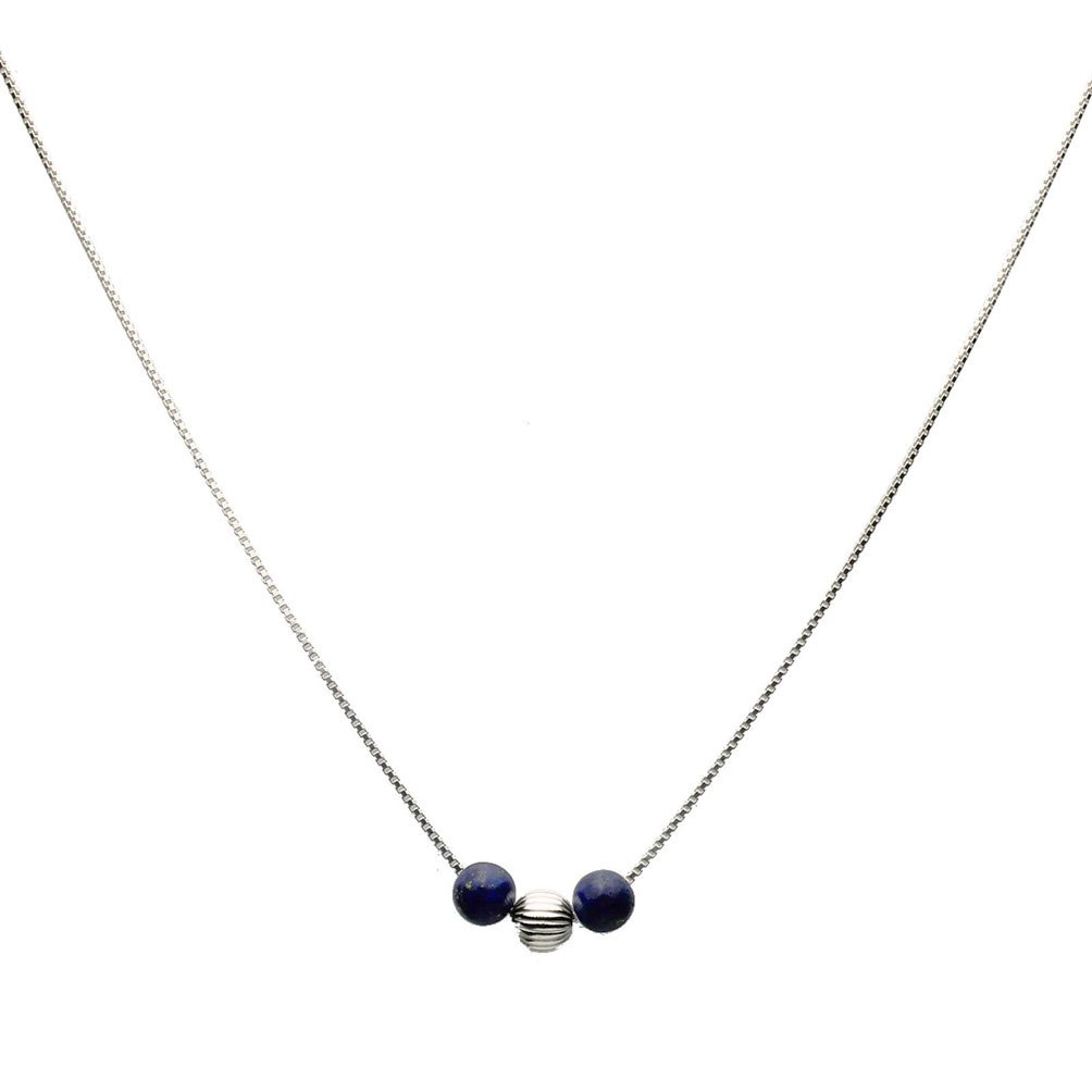 Blue Lapis Stone Station Sterling Silver Bead Box Chain Necklace 16''