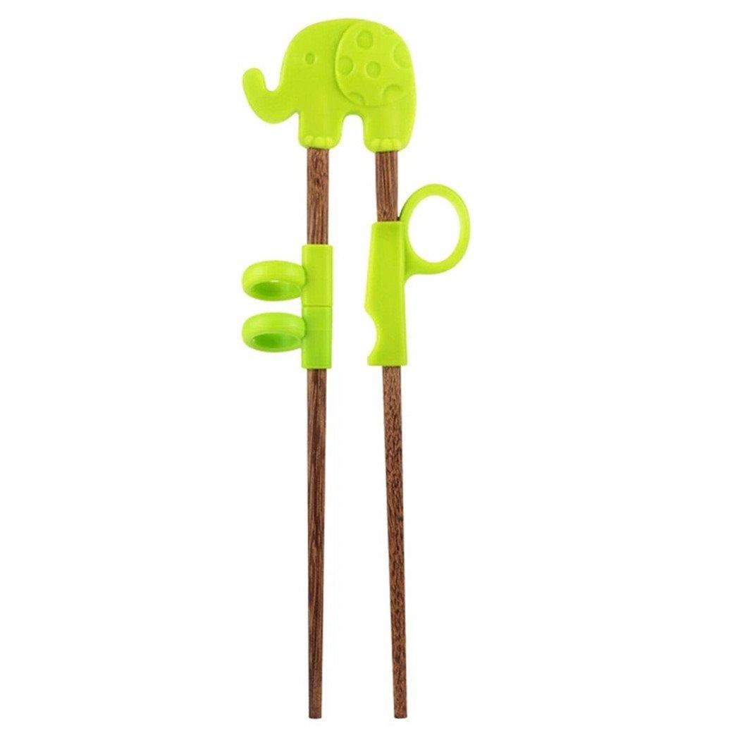 Myhouse Wenge Children's Learning Chopsticks Baby's Cartoon Training Chopsticks (Green Elephant)