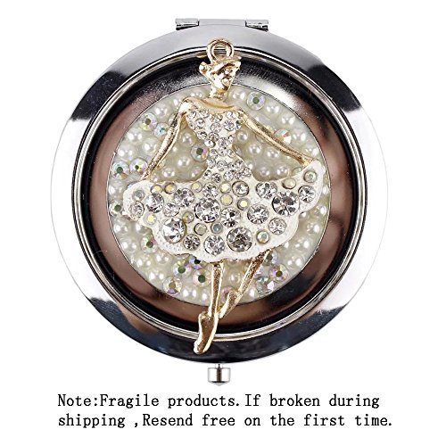 Brendacosmetic Round Alloy Rhinestone Ballet Dancer Compact Pocket Mirror Cosmetic Mirror ,Double-sided Foldable 2X Magnifying Makeup Mirror Portable Travel Mirror as Gift for Friend - Online Dior Buy Baby