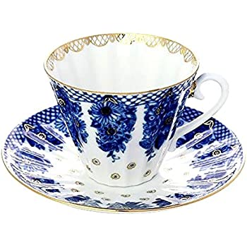 Lomonosov Porcelain Tea Cup and Saucer Set Radiant Basket 2pc 7.95 oz/235 ml