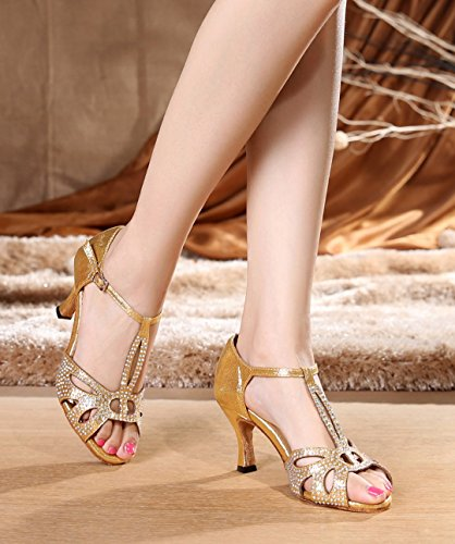 Dance Out Rhinestones Toe T 7 Strap Heel Cut Social Dance Latin Sandals Prom Peep Modern Gold Flared Joymod MGM Ballroom Heel 5cm Shoes Party Wedding Synthetic Women's wqzAYnxtT