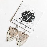 Layered Genuine Leather Earrings/Arctic Giraffe/Light Gray-Blue & Cream/Boho Fringe Earrings/Drop Earrings/Arrowhead Earrings/Statement Earrings/Gift