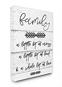The Stupell Home Decor Collection a Little Crazy Loud Love Family Stretched Canvas Wall Art, 16 x 20