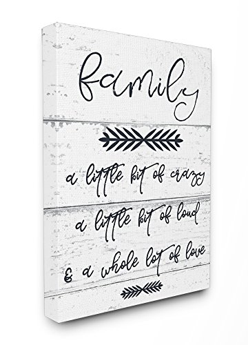 The Stupell Home Decor Collection A Little Crazy Loud Love Family Oversized Stretched Canvas Wall Art 24 x 30 Gallery Wrapped