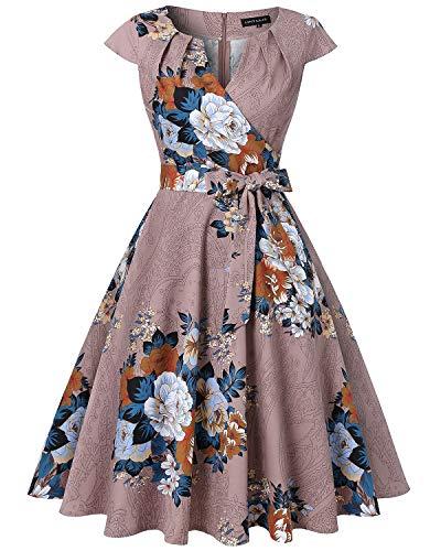 MINTLIMIT Womens 1950s Solid Vintage Dress Cocktail Party Dress with Removable Belt(Floral Khaki,Size XXL)