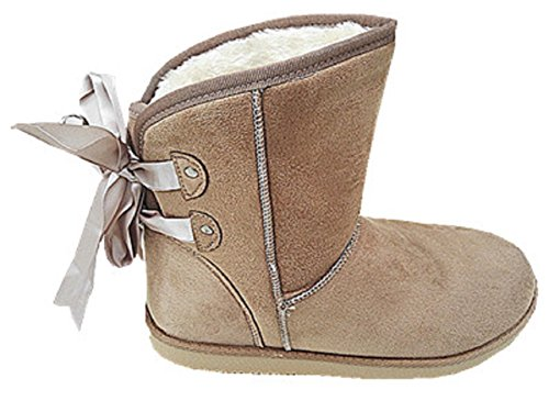 Bottine Lady Fur Boots Fur Filled Ankle Short Winter Girl jr908 Taupe 3wOCfL