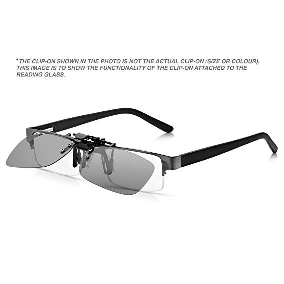 f49d911999b8 Read Optics Clip-On Sunglasses  Mens Womens Flip-Up Polarised Sun Lenses  fit over Prescription Glasses and Readers. 100% Protection Rimless Grey  Smoke UV400 ...