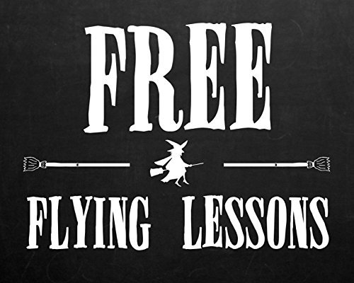 iCandy Combat 8x10 Free Flying Lessons Print Witch On A Broomstick Pickture Black and White Halloween Design Decoration Wall Hanging Seasonal Poster