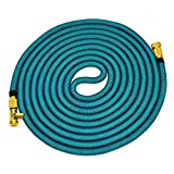 "GreenWise  Flexible Garden Hose Expand Up to 75Ft (Feet) with 3/4"" Solid Brass Connector, Double Latex Core Extra Strength Fabric for Car Garden Supplies Water Pipe Nozzle - 75ft, Lake Blue"
