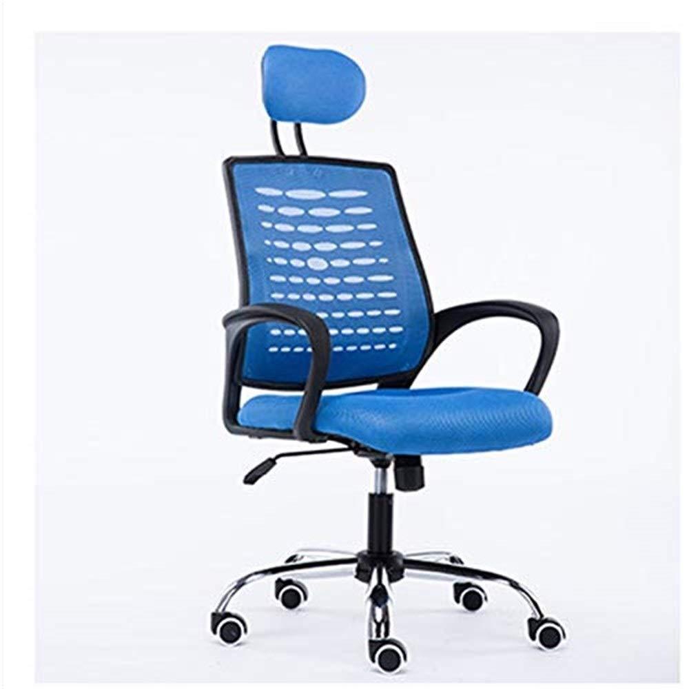 オフィスチェア 会社のオフィス用家具ホームコンピュータチェアリフトバックチェア人間工学に基づいたレジャーチェアミーティングメッシュ回転チェア(カラー:ブラック) オフィスチェア (色 : 青)  青 B07R8QL79D