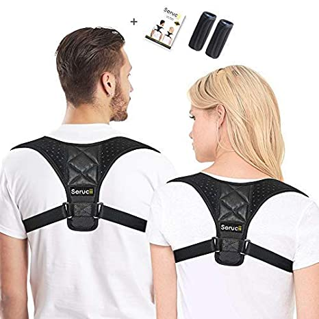 238cfd60779 Serucii Posture Corrector for Women Men & Kids - Physical Therapy Back  Brace Shoulder and Neck Pain Relief - Yoga Spinal Support Muscle Trainer  Plus ...