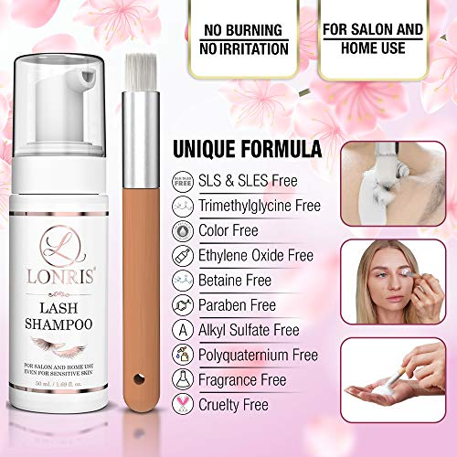 2 in 1 Eyelash Extension Shampoo & Mascara Remover/LONRIS Eyelid Foaming Cleanser/Extensions and Natural Lashes Safe Foam/False Eyelashes Makeup Wash/Paraben & Sulfate Free/Personal and Salon Use 50ml