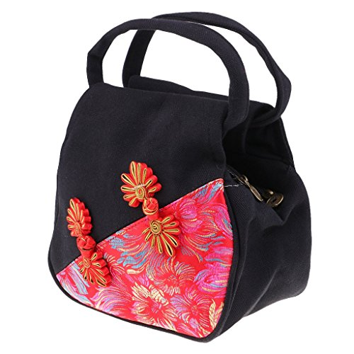 Blue F Style Embroidery Women Messenger Handbag Fityle Black Mini Canvas Bag Bag Tote Chinese Bag Ethnic qr6qpP