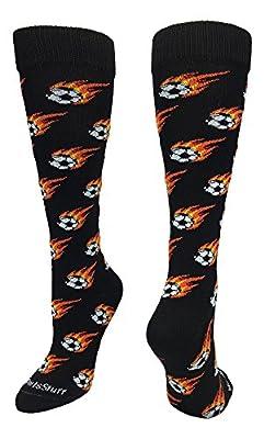 Flaming Soccer Ball Over The Calf Socks
