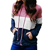 Fheaven Women Stripe Long Sleeve Sweatshirt T-Shirt Pullover Hooded Tops with Pocket Sport (XL, Red)