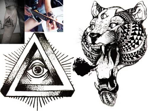 Novoskins Tattoo Artist Temporary Tattoo hand painted waterproof transfer 'The Eye' and 'Eye of the Tiger' design combo pack