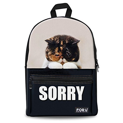 FOR U DESIGNS Casual Apology Dog Animal Soft Canvas School Book Bags for Teens Kids