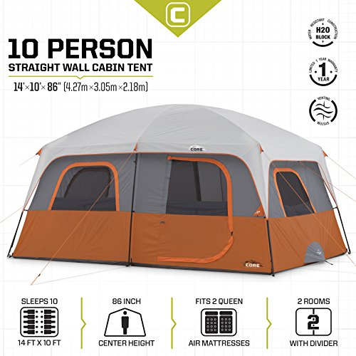 Core 10 Person Straight Wall Cabin Tent 14 X 10