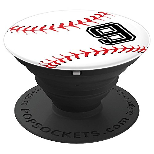 Baseball Player #9 Back Jersey No 9 Baseball Pit Sports Gift PopSockets Grip and Stand for Phones and Tablets