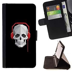 KingStore / Leather Etui en cuir / Sony Xperia M2 / Cráneo Batir Auriculares