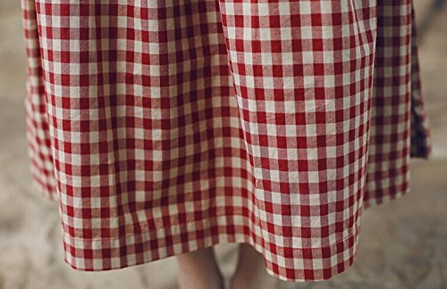 レディース ワンピース チェック柄 リネン ドレス Aライン マキシ ワンピ 春 夏 しっかり生地 長袖 コットン ロング丈 ゆったり 腰ベルト付き カジュアル 大きいサイズ