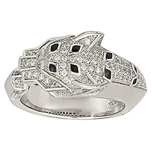 RNB Women's Silver 925 White Gold Plated Leopard Head Zircon Studded Ring - 7 US