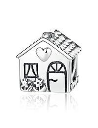 Everbling Home Sweet Home 925 Sterling Silver Bead Fits European Pandora Charm Bracelet