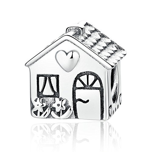 Sterling Silver Sweet - The Kiss Home Sweet Home 925 Sterling Silver Bead Fits European Charm Bracelet
