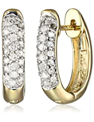 10k Gold Oval Pave Diamond Hoop Earrings (1/4 cttw, H-I Color, I2-I3 Clarity)