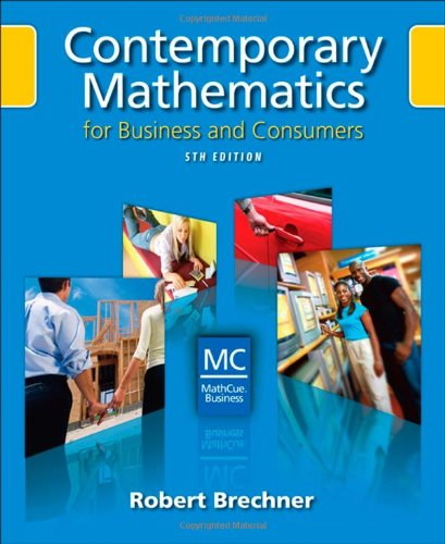 Contemporary Mathematics for Business and Consumers (with Student Resource CD with MathCue.Business) (Available Titles C