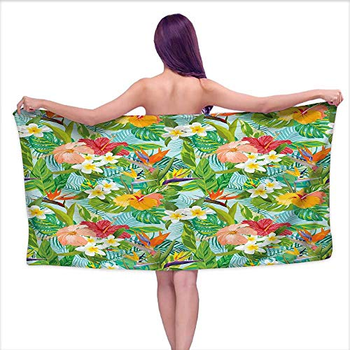 "Suchashome Leaf Soft Luxury Bath Sheet Set Vintage Cartoon Style Image of Hawaiian Flowers Crepe Gingers Bath Towel 3D Digital Printing Set W 28"" x L 55"" Blue Light Green Orange and Pink"