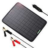 ALLPOWERS 18V 12V 10W Portable Solar Panel, Solar trickle Charger, Solar Battery Charger Maintainer, Bundle with Cigarette Lighter Plug, Alligator Clip for Automobile Motorcycle Tractor Boat RV Batte