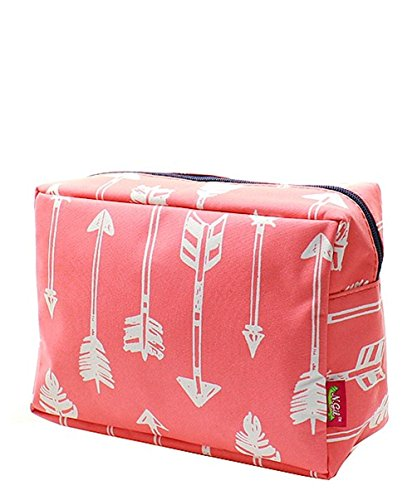 N. Gil Large Travel Cosmetic Pouch Bag (Arrow Coral)
