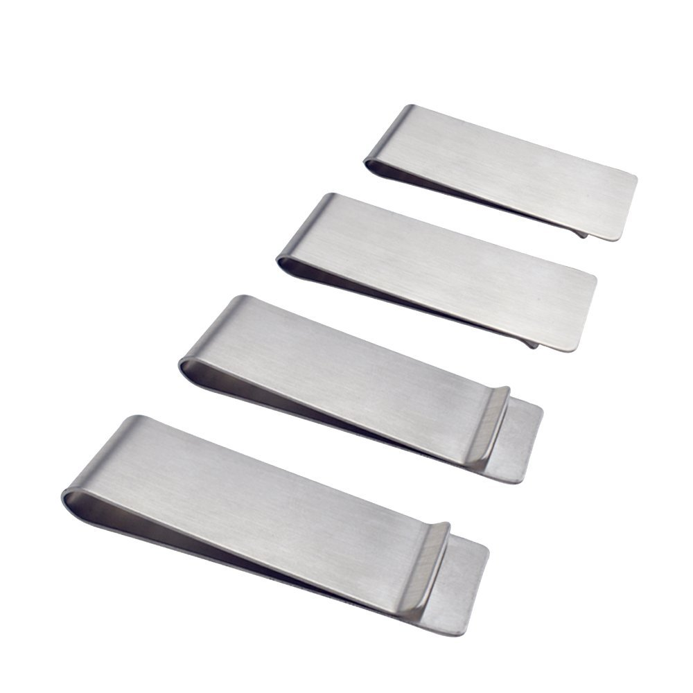 Stainless Steel Money Clip, SourceTon 2-Pack Slim Wallet, Credit Card Holder, Minimalist Wallet - Silver ST-money clip_2-SS