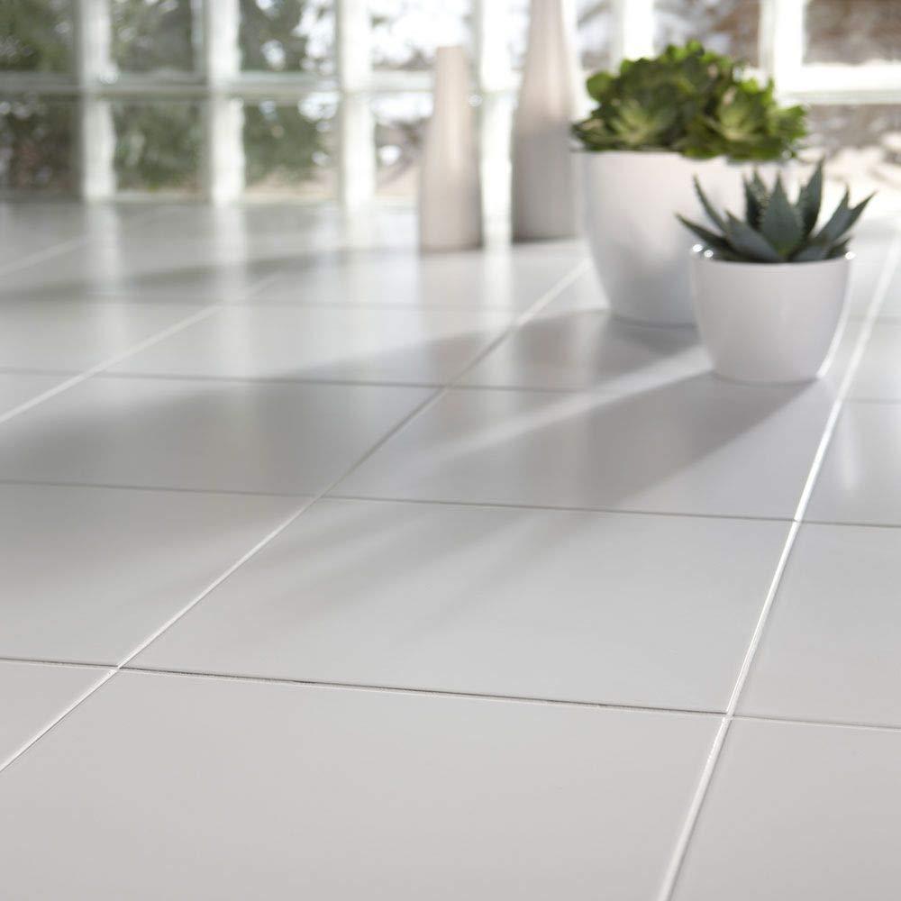 plain matt white 33x33 ceramic floor tiles per sqm amazon co uk rh amazon co uk white floor tiles kitchen white floor tiles with black grout