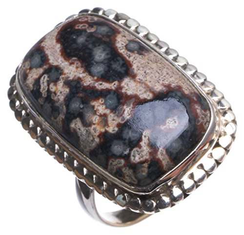 Natural Leopard Skin Jasper Handmade Mexican 925 Sterling Silver Ring, US size 7 T7696