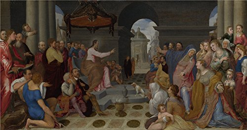 Oil Painting 'Pedro Campaa (after Federico Zuccaro) The Conversion Of Mary Magdalene' 10 x 19 inch / 25 x 48 cm , on High Definition HD canvas prints is for Gifts And Dining Room, Gym And Hall decor