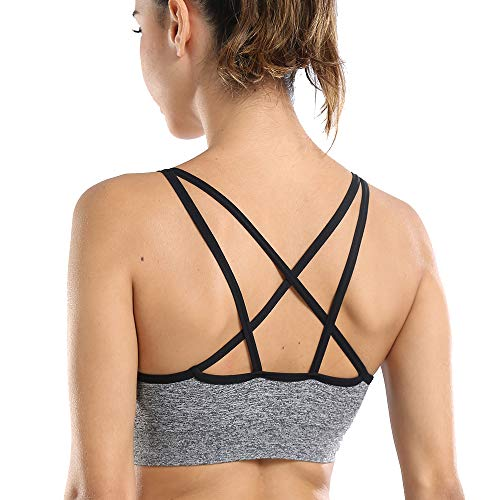 Padded Sports Bras for Women Strappy Bralette Yoga Push up Seamless Cross Backless Support High Impact